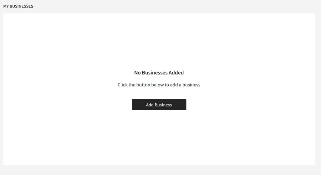 My Businesses page of Ghana.GOV allows you to Add a Business to your profile
