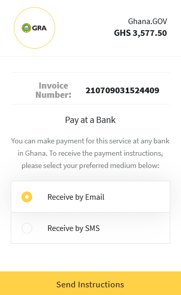 Pay at Bank option provides you with notifications via email or SMS