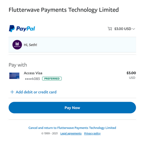 PayPal confirmation of payment to Flutterwave Payments Technology Limited