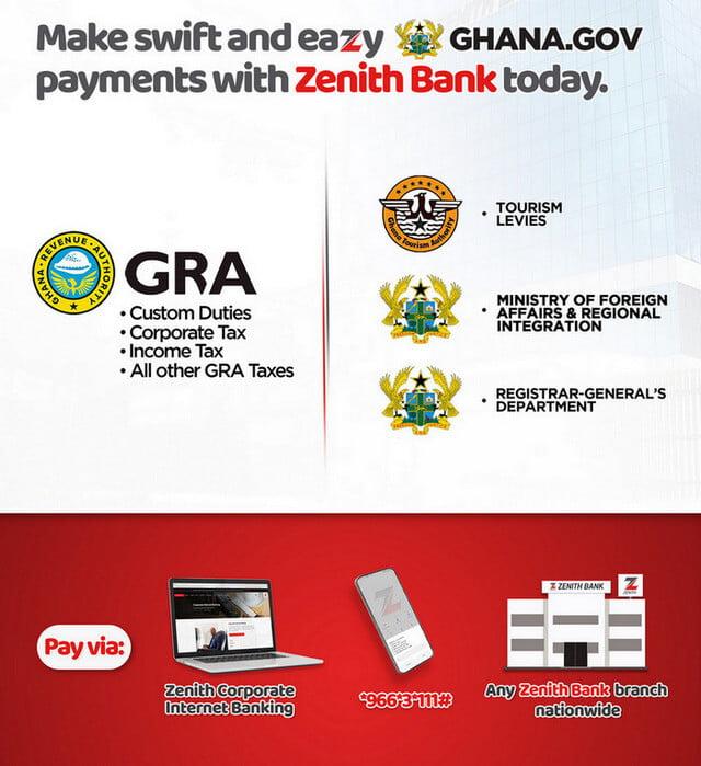 Paying Ghana.GOV directly via Zenith Bank digital channels