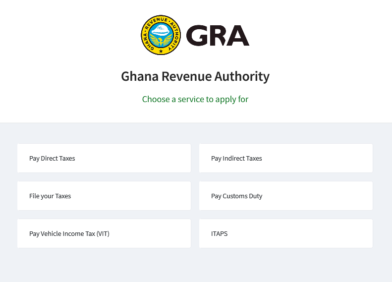 Pop-up modal showing various services to apply for with the GRA