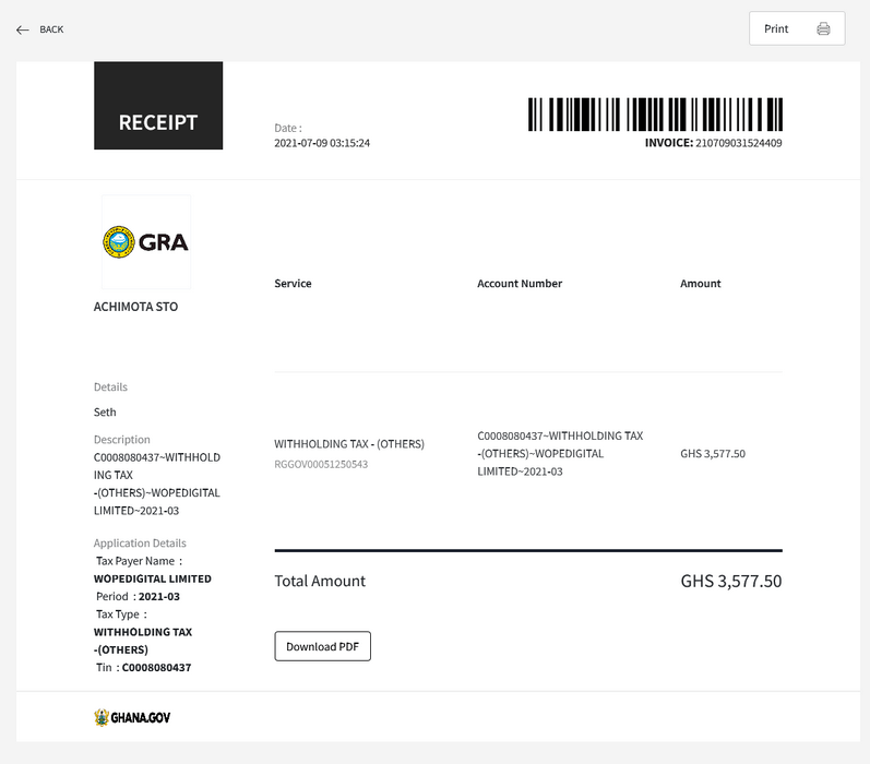 Receipt for successful payment of invoice on Ghana.GOV