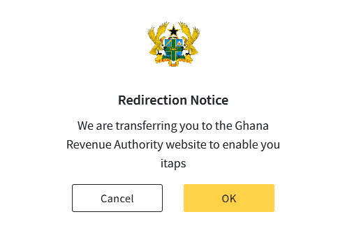 Redirection notice on Ghana.GOV to iTAPS