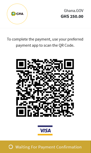 Scan and Pay with Visa QR code on Ghana.GOV