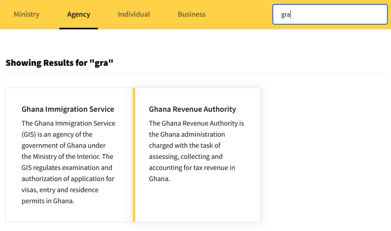 Search for GRA in the Services Directory on Ghana.GOV