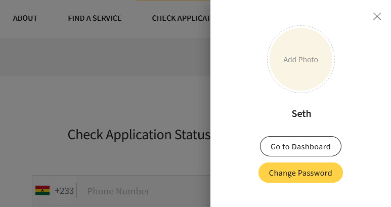 Sidebar on Ghana.GOV allowing you to Go To Dashboard or Change Password