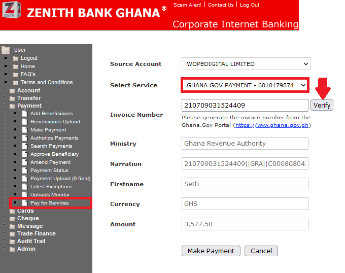 Zenith Bank corporate banking portal for payment of services on Ghana.GOV