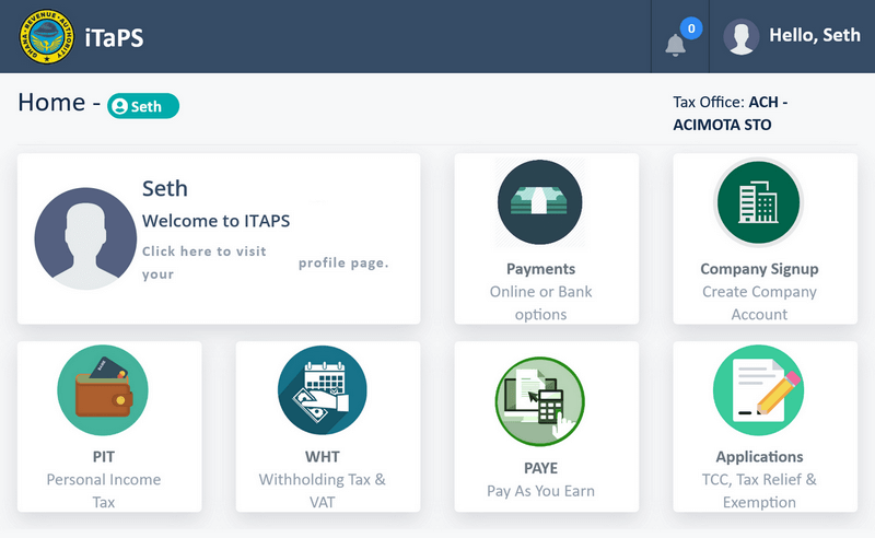 iTaPS portal for personal income filings and for sole proprietors
