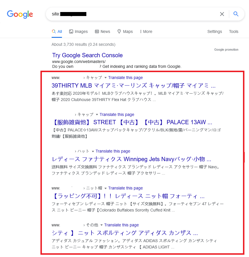 Compromised website with foreign characters indexed by Google