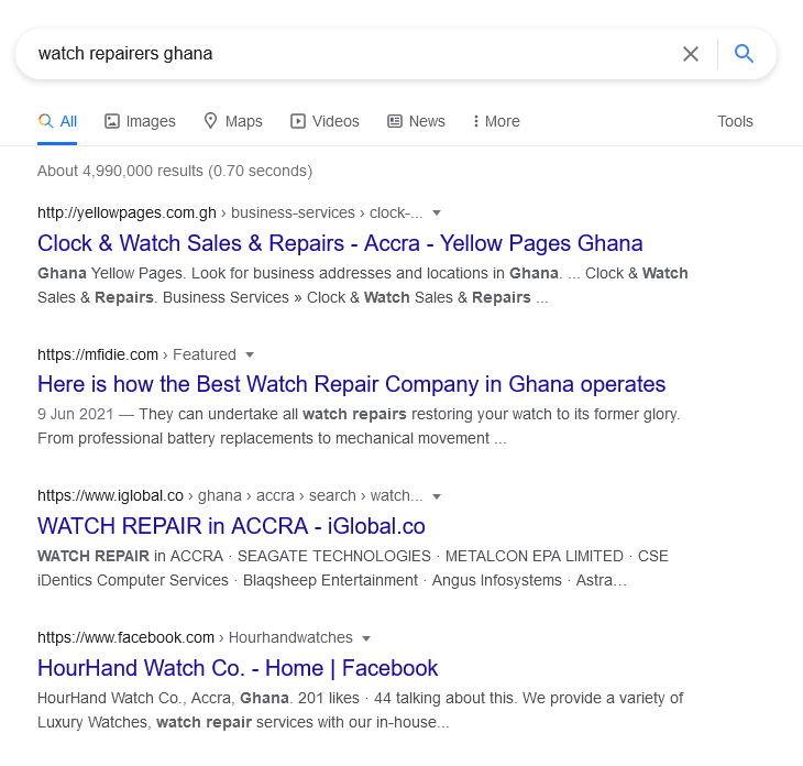 No websites of watch repairers pop up for a Google Search