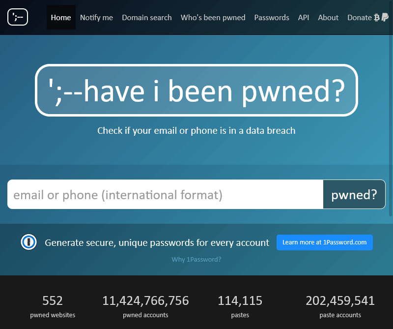 Website that allows you to check on compromised login details