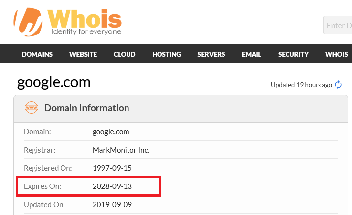 Whois.com shows that Google.com will expire in September 2028