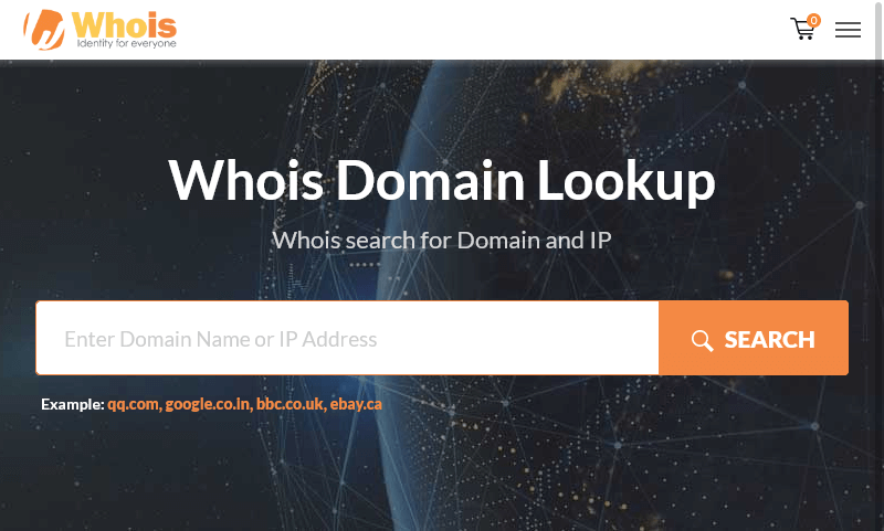 Whois.com website allows you to search on the registration details of a domain name