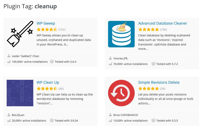 Snapshot of WordPress Plugins for optimizing your database
